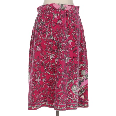 Emilio Pucci Skirt in Multicolor Scrolling Acanthus Print Cotton Velvet