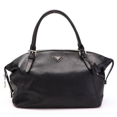 Prada Large Zippered Tote Bag in Black Calfskin Leather
