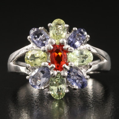 Sterling Silver Fire Opal, Tanzanite and Chrysoberyl Ring