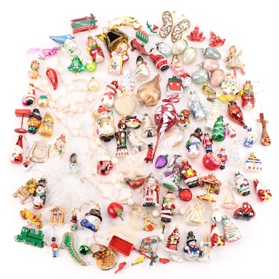 Snowmen, Santa Claus and Other Glass and Fabric Christmas Ornaments