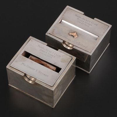 Pair of Greenleaf & Crosby Sterling Silver Cigarette Boxes, 1940
