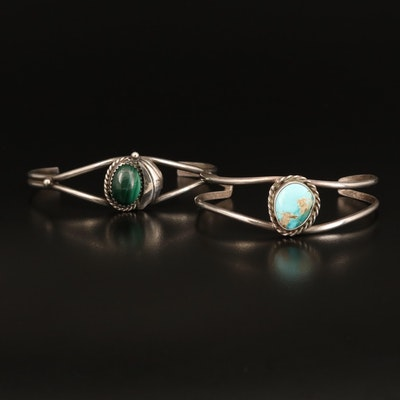 Western Sterling Cuffs Including Turquoise and Malachite