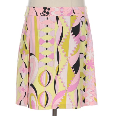 Averardo Bessi Multicolor Printed Pleated Skirt in Stretch Cotton