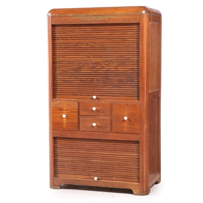 """Coppes Brothers & Zook """"Napanee"""" Oak Hoosier Style Cabinet with Tambour Doors"""