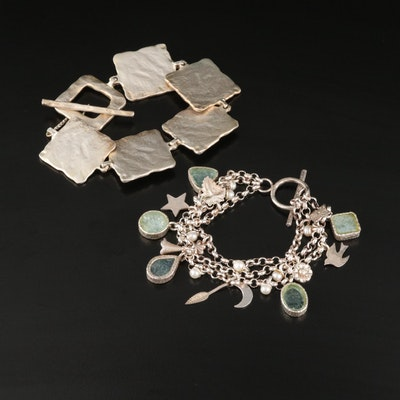Sterling Sea Glass and Pearl Bracelets