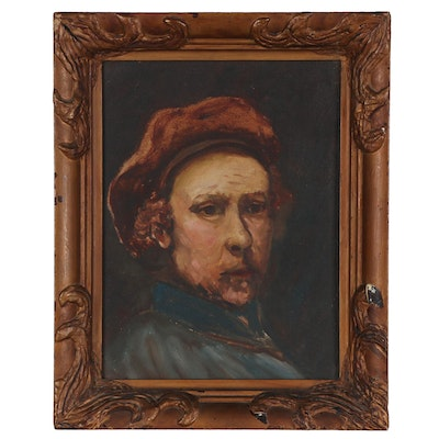Oil Painting after Rembrandt Self-Portrait, Mid-20th Century