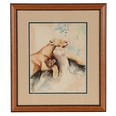 Watercolor Painting of a Lioness and Cub, 1940