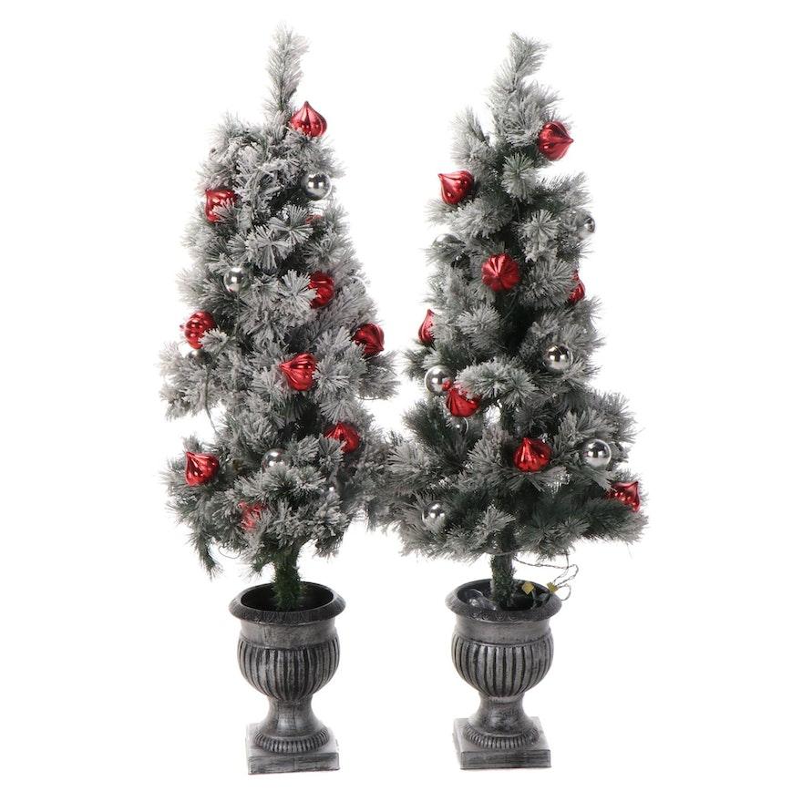 Pair of Miniature Artificial Illuminated Christmas Trees
