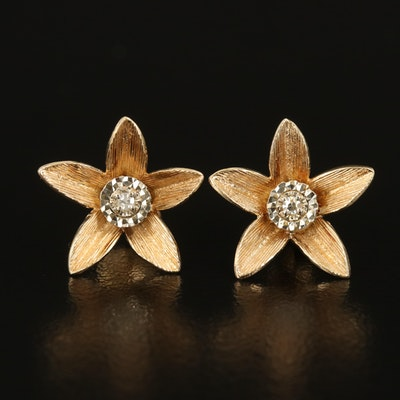 14K Illusion Set 0.02 CTW Diamond Flower Earrings