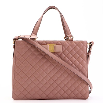 Salvatore Ferragamo Tracy Bow Two-Way Tote Bag in Blush Pink Quilted Leather