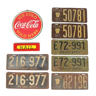 Early Pennsylvania and Ohio License Plates, Hanging Soda and Mail Signs
