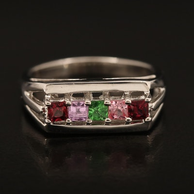 Sterling Ruby, Pink Sapphire and Tourmaline Ring
