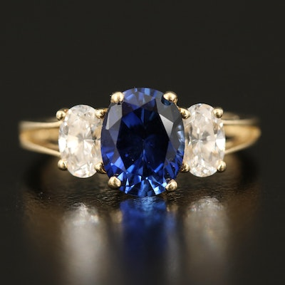 14K Sapphire and Cubic Zirconia Ring