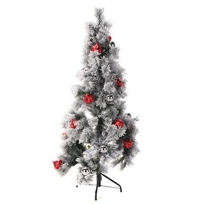 Flocked White Pine Pre-Lit Artificial Christmas Tree