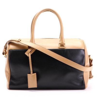 Saint Laurent Classic Duffle 12 Bag in Bicolor Leather