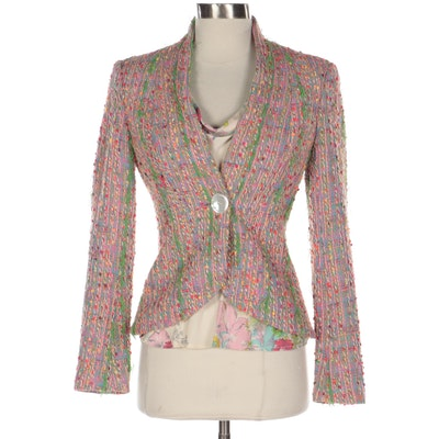 Yigal Azrouël Single-Breasted Multicolor Bouclé Tweed Jacket and Blouse
