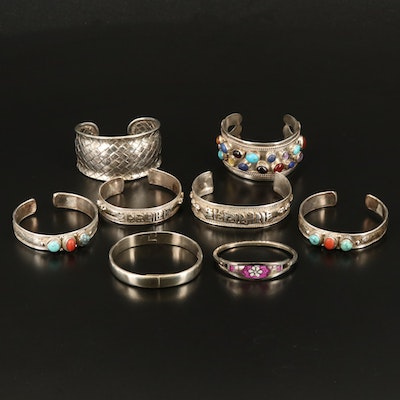 Sterling Cuff Grouping Including Turquoise, Coral and Amethyst