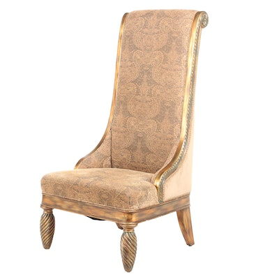 Giltwood, Parcel-Painted, and Custom-Upholstered High-Back Side Chair