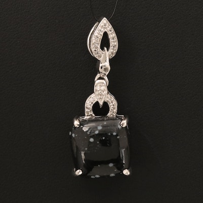 Sterling Snowflake Obsidian and White Topaz Pendant