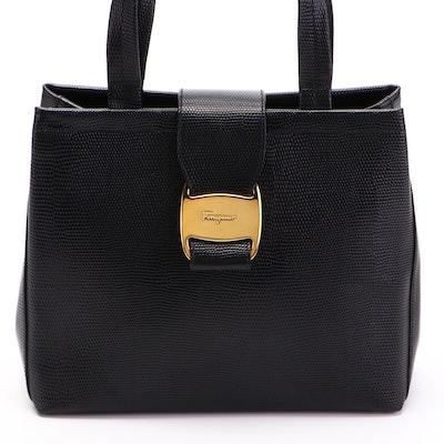 Salvatore Ferragamo Vala Top Handle Bag in Black Embossed Leather