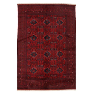 6'8 x 10' Hand-Knotted Afghan Turkmen Area Rug