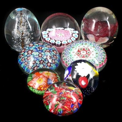 Murano and Other Handcrafted Millefiori, Floral, and More Art Glass Paperweights