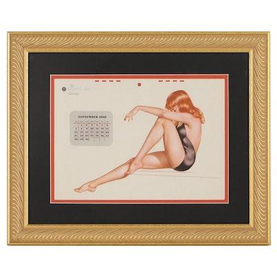 """Esquire"" Magazine Pin-Up Calendar After Alberto Vargas, 1947"