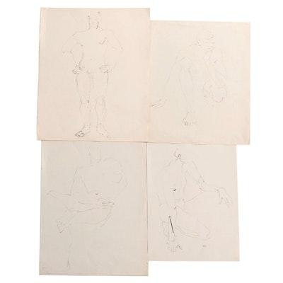 John Tuska Figural Nude Ink Drawings, Mid to Late 20th Century