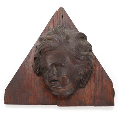 Carved Oak Cherubic Bust Wall Hanging, Early to Mid-20th Century