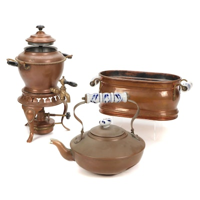 Sternau Coffee Samovar and Other Copper and Delftware, Early/Mid 20th C.