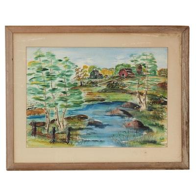 Wendell Lanton Landcape Watercolor Painting, 1950