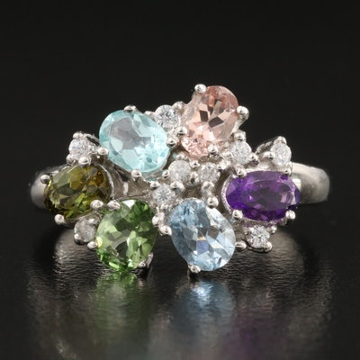 Sterling Silver Tourmaline, Amethyst and Zircon Ring