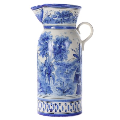 Spanish Blue and White Hand-Painted Faïence Earthenware Pitcher