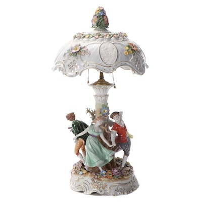Dresden Style Porcelain Table Lamp with Lithophanes in Shade, Mid-20th C.
