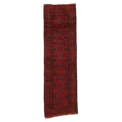2'10 x 9'2 Hand-Knotted Afghan Turkmen Carpet Runner