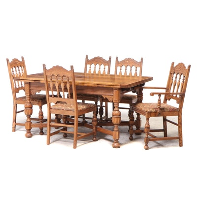 Drexel Renaissance Style Oak Six-Piece Dining Set, 1930s