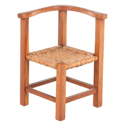 American Primitive Style Cherrywood Child's Roundabout Chair, 20th Century