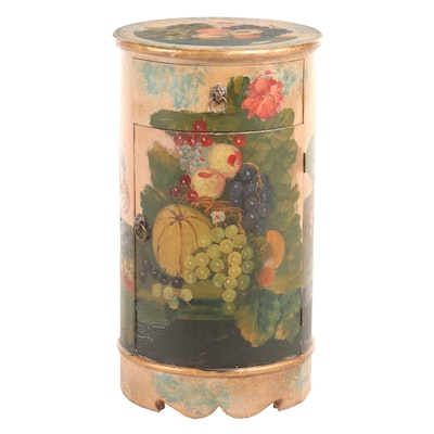 Paint-Decorated Cylindrical Cabinet with Drawer