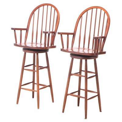 Pair of American Primitive Style Cherrywood Swivel Benchmade Bar Stools