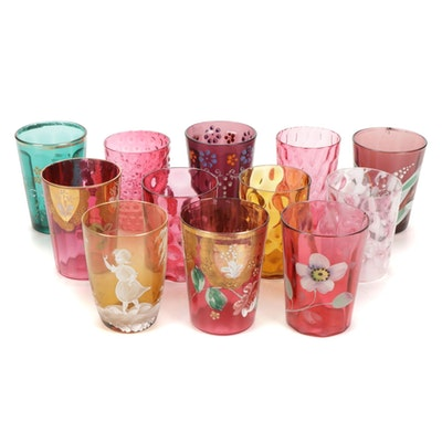 Painted and Optic Glass Juice Tumblers Including Fenton, Early to Mid 20th C.