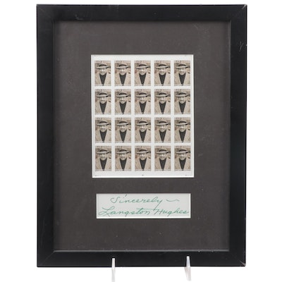 """Langston Hughes Cut Signature with 2002 """"Black Heritage"""" 34c Mint Stamp Sheet"""