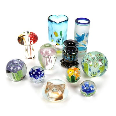 Blown Glass Flora and Fauna Themed Paperweights and Vases