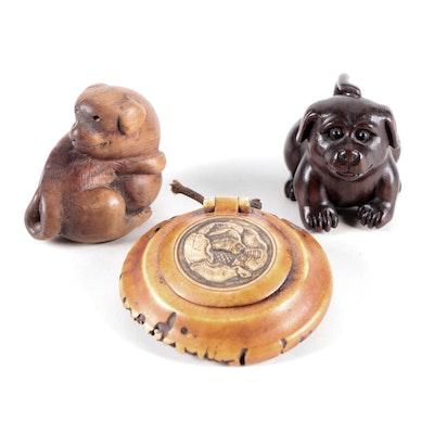 Japanese Carved Wooden Dog Netsuke and Antler Seal Paste Box