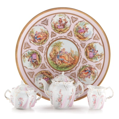 Royal Vienna Style Porcelain Tray with Other  Pink Floral Tea Set