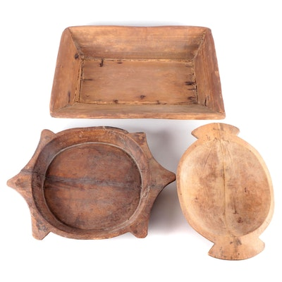 Primitive Wooden Dough Bowls and Tray, 19th Century
