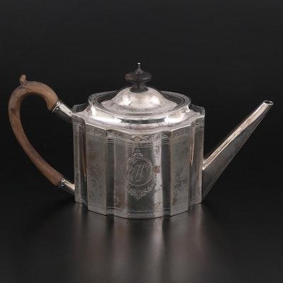 Charles Aldridge of London Sterling Silver Teapot, 1796