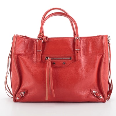 Balenciaga Papier A6 Zip Around Classic Studded Grained Leather Tote