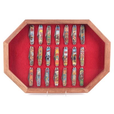Framed Western, Television, and Holiday Themed Character Pocket Knives, 20th C.