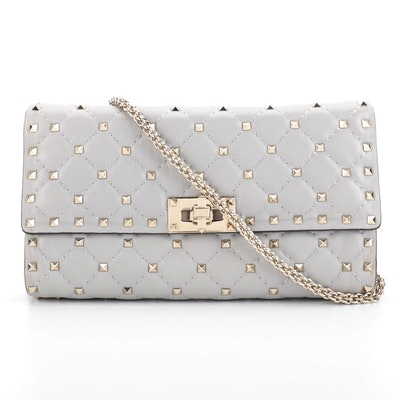 Valentino Rockstud Spike Clutch Crossbody Bag in Grey Quilted Nappa Leather