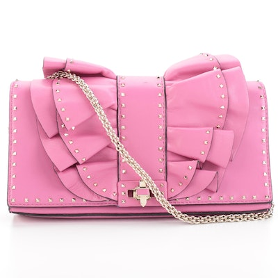 Valentino Very V Ruffle Studded Convertible Clutch in Pink Nappa Leather